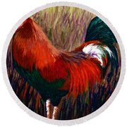 Rudy The Rooster Round Beach Towel