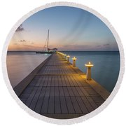 Round Beach Towel featuring the photograph Rum Point Pier At Sunset by Adam Romanowicz