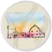 Rural Nostalgia Round Beach Towel