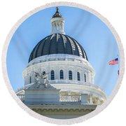 Sacramento Capitol Building In California Round Beach Towel
