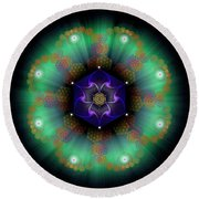 Sacred Geometry 638 Round Beach Towel by Endre Balogh