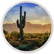 Round Beach Towel featuring the photograph Saguaro Sunrise In The Superstitions  by Saija Lehtonen