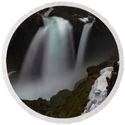 Round Beach Towel featuring the photograph Sahalie Falls by Cat Connor