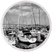Sail Boats At San Francisco China Basin Pier 42 With The Bay Bridge In The Background . 7d7666 Round Beach Towel