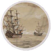 Sail Ships Round Beach Towel