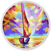 Sailbout Sunset Round Beach Towel by Tim Gilliland