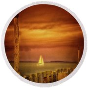 Sailing  ... Round Beach Towel