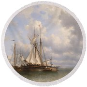 Sailing Ships In The Harbor Round Beach Towel by Anthonie Waldorp
