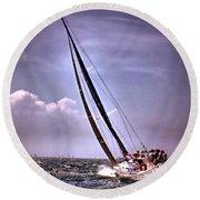 Sailing To Nantucket 003 Round Beach Towel