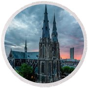 Saint Catherina Church In Eindhoven Round Beach Towel