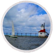 Saint Joseph Lighthouse Round Beach Towel