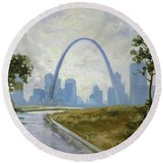 Saint Louis Panorama Round Beach Towel