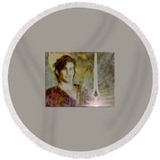 Saint Michael The Archangel Round Beach Towel
