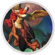 Saint Michael The Warrior Archangel Round Beach Towel