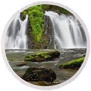 Salmon Creek Falls - Juneau Round Beach Towel
