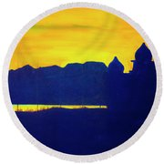 Round Beach Towel featuring the painting Saltair Sunset by Jane Autry