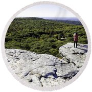 Sams Point Overlook Round Beach Towel by Fran Gallogly