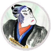 Samurai  Round Beach Towel