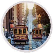 San Francisco Cable Cars Round Beach Towel by JR Photography