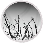Round Beach Towel featuring the photograph Sand Dune With Dead Trees by Chevy Fleet