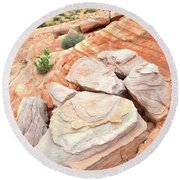 Round Beach Towel featuring the photograph Sandstone Cove In Valley Of Fire by Ray Mathis