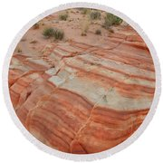 Round Beach Towel featuring the photograph Sandstone Stripes In Valley Of Fire by Ray Mathis