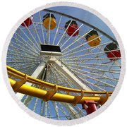 Santa Monica Pier Amusement Park Round Beach Towel