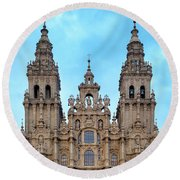Round Beach Towel featuring the photograph Santiago De Compostela Cathedral by Fabrizio Troiani