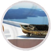Round Beach Towel featuring the photograph Santorini Greece by Bob Christopher