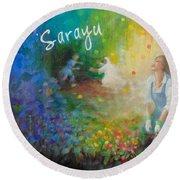 Sarayu Round Beach Towel by Janet McGrath