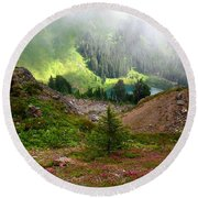 Sauk Mountain Lake Round Beach Towel