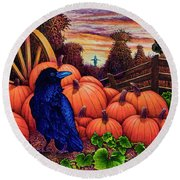 Round Beach Towel featuring the painting Scarecrow by Michael Frank
