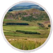 Scotland View From The English Borders Round Beach Towel