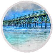 Sea Blue - Cherry Grove Pier Round Beach Towel