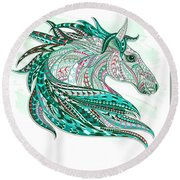 Sea Green Ethnic Horse Round Beach Towel
