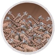 Sea Of Giraffes Round Beach Towel