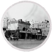Round Beach Towel featuring the photograph Seaman Drake Arch  by Cole Thompson
