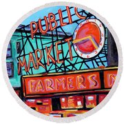 Seattle Public Market Round Beach Towel