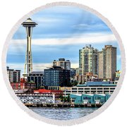 Seattle Skyline Hdr Round Beach Towel by Rob Green