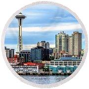 Seattle Skyline Hdr Round Beach Towel