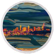 Seattle Swirl Round Beach Towel by Dale Stillman