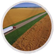 Semi-trailer Truck Round Beach Towel