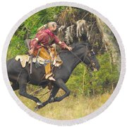 Seminole Indian Warrior Round Beach Towel
