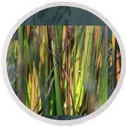 September Grass - Round Beach Towel