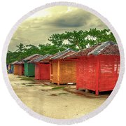 Round Beach Towel featuring the photograph Shacks by Charuhas Images