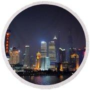 Shanghai China Skyline At Night From Bund Round Beach Towel