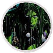 She-hulk Round Beach Towel
