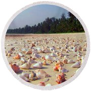 She Sells Sea Shells At The Sea Shore Seaweed And Sea Shells Beaches Of Zanzibar Tanzania Round Beach Towel