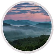 Shenandoah Sunrise Round Beach Towel