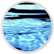 Shiny Snow Magic On Lake Round Beach Towel